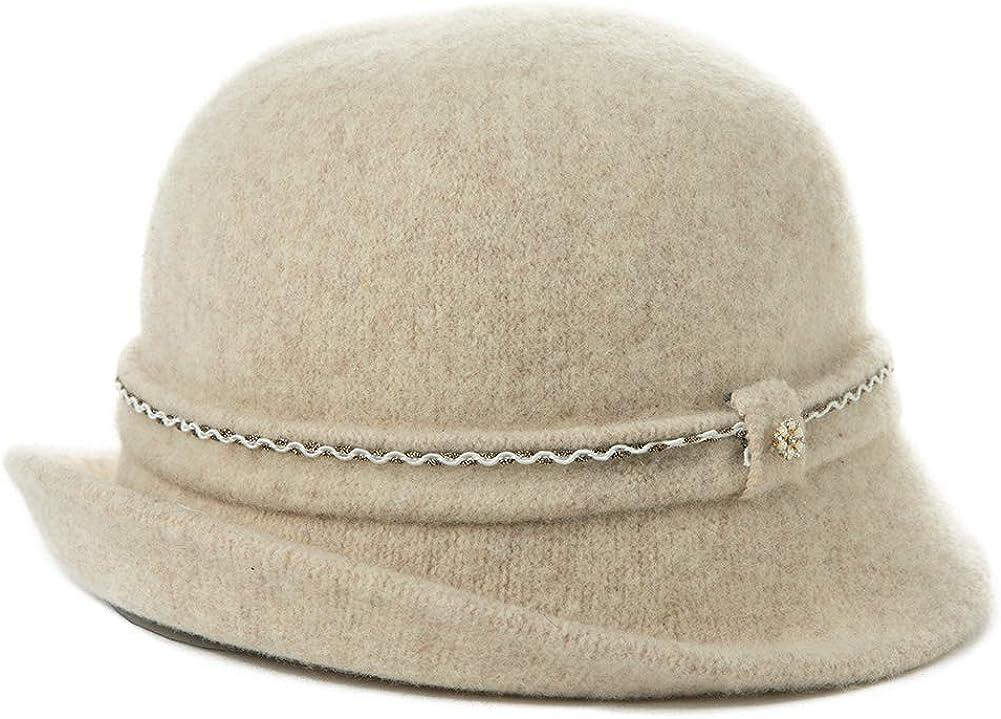 Fancet SIGGI Damen Wollglockenhut f/ür Frauen Winter Bucket Round Hat 1920er Vintage Derby Party Bowler Soft Crushable Gr M 16076/_Navy