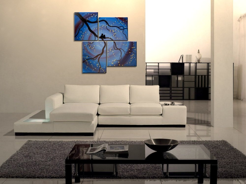 Blue and Purple Painting Love Birds Asymmetrical Art over Four Canvases Multi Panel Artwork Large Wall Art Original Painting