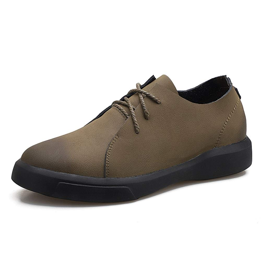 Khaki Oxford shoes for Men Formal shoes Lace Up Style OX Leather Round Toe Increased Concealed Highschool Heel Casual shoes