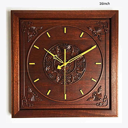 Wall Clocks Solid Wood Taomu Square Wall Clock Redwood Style Mute Movement Town House Wall Clock (Color : B)