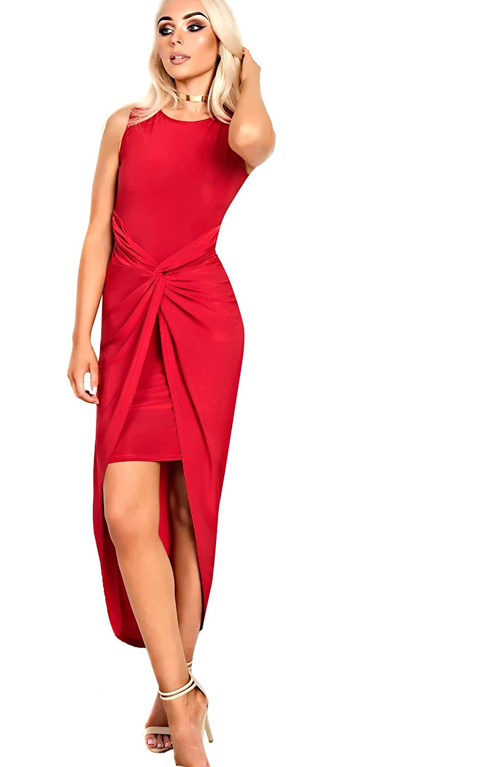 Women's Ladies Stunning Bodycon Gathered Party Evening Dress