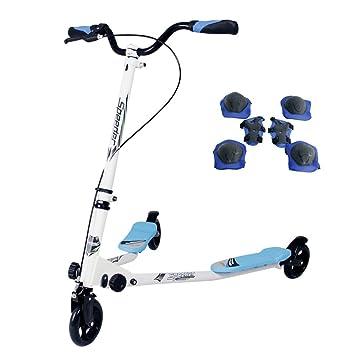 Yorbay Scooter Patinete de Tres Rueda Plegable Ajustable para niños (Azul)