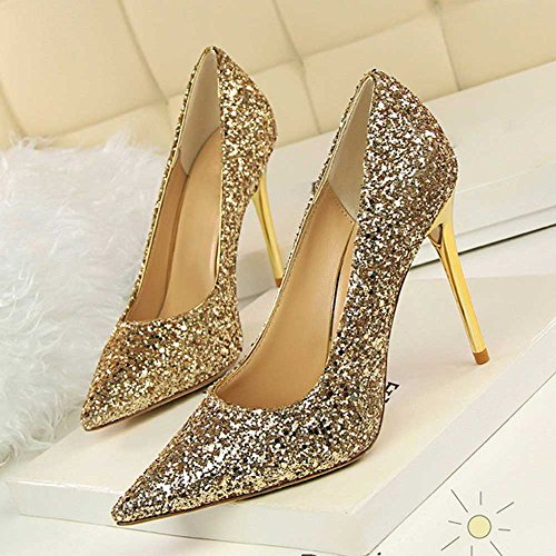 A 9 Elegante Sposa Tacchi Tacchi Tacchi Spillo Scarpe Oro Delle Tacchi Tacco   579099