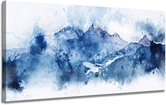 Large Abstract Canvas wall art Living room Office Wall art Abstract mountain landscape on white background Blue shadow Digital Watercolor painting 24×36 inch Frame Art Ready to hang