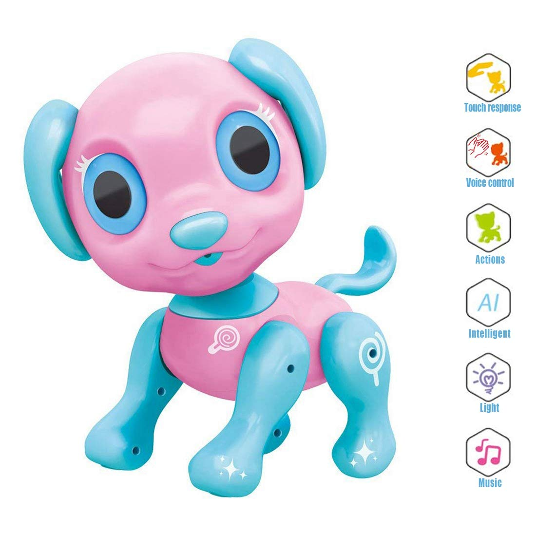 Electronic Pet Toy, Smart Robot Dog ~ Interactive Puppy Toys for Age 3 4 5 6 7 8 Year Old Girls, Gifts Idea for Kids ● Emotional Interaction (Pink) by amdohai (Image #1)