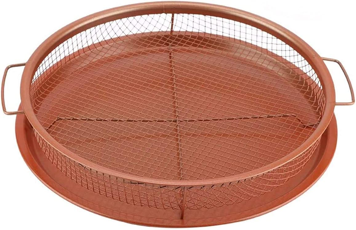 Deluxe Copper Crisper - Circular-2-Pieces Nonstick Oven Air Fryer Pan/Tray & Mesh Basket Set - Air Fryer in Oven - Ideal for French Fry - Frozen Food, Baking Sheet without Oil by WHG