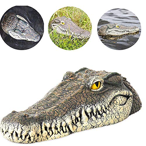 (Peedeu 13-Inch Floating Alligator Decoy,Alligator Head Floating Decoy for Pool, Pond, Garden and Patio)