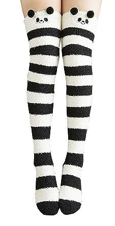 891d0ab8750ce Knee High Socks Fuzzy Socks Stripe Fleece Leg Warmers Thigh High for Women  Girls (Black): Amazon.co.uk: Clothing