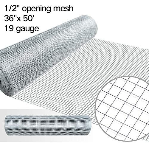 (36inx50ft 1/2 in 19gauge Hardware Cloth Galvanized Welded Cage Wire Mesh Rolls Square Chicken Wire Netting Raised Garden Beds Rabbit Fence Snake Fencing Rodent Animals Weasel Gopher Moles Raccoons)