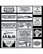 CINPIUK 14PCS Christmas Stencils Painting on Wood, Winter Holiday DIY Farmhouse Wood Signs North Pole Farm Fresh Christmas Tree Santa Reusable Templates for Home Decor Xmas Art Crafts