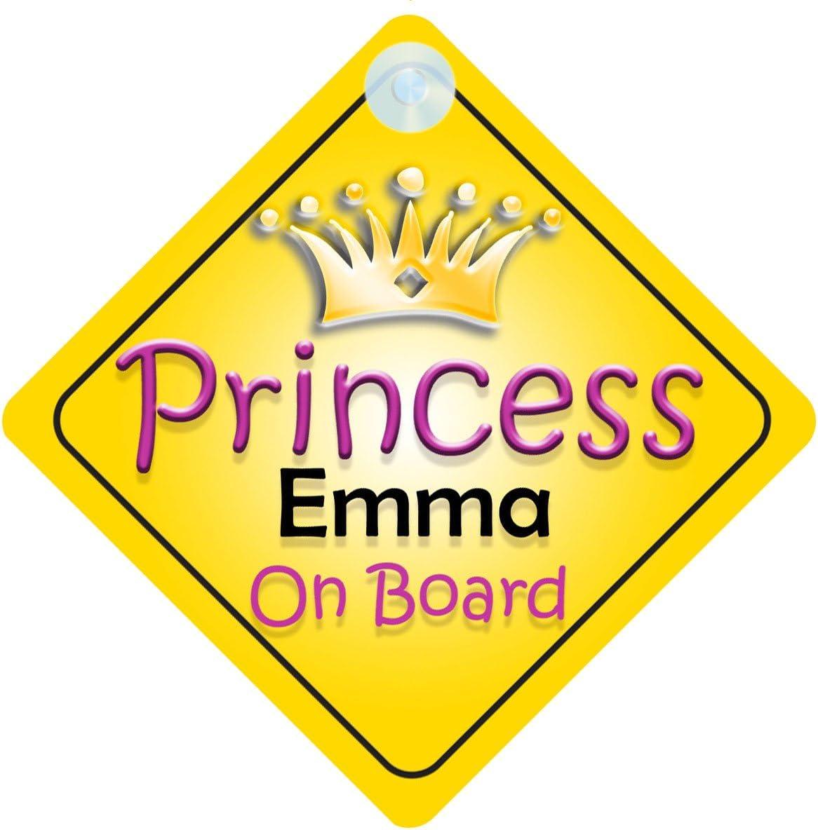 La Princesse Emma à bord personnalisé bébé fille VOITURE SIGNE