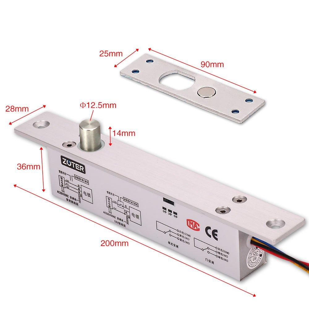 zoter® DC 12 V Elektrische Riegel Drop Bolt NC Modus Fail Safe Home ...