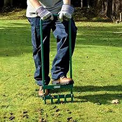ALEKO LA01 Steel Coring Lawn Aerator with Hollow Tines 35.5 x 11 Inches Green