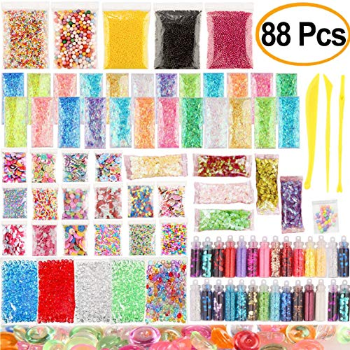 New Mucus Supplies Kit, 88 packs, including foam balls, aquarium beads, fruit slices, sequins, tri-color tablets, chocolate silk, slime tools, colored round pearls, colored candy paper accessories, sl by HZT-US