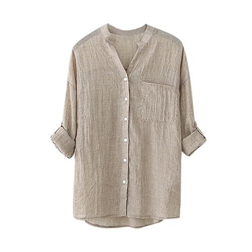 Kukul_Mujer Mujer Blusas Kukul Algodón Camisa de Manga Larga Sólida Blusa Suelta Informal (L, Caqui)