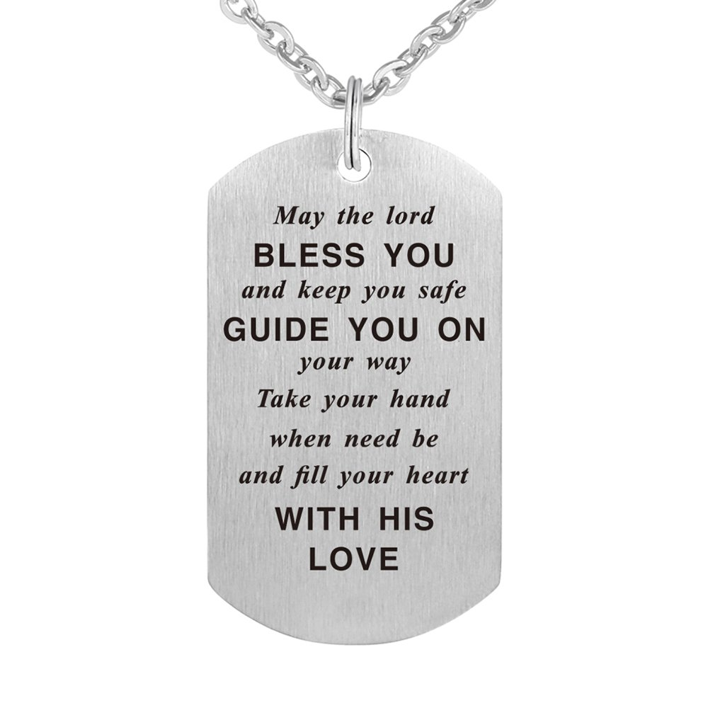 63db0d787 Galleon - Kisseason May The Lord Bless You Christian Wish Pendant Necklace  Dog Tag Jewelry Keychain Birthday Baptism Gift (May The Lord)