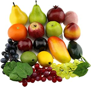 Gresorth Fake Mixed Fruit Artificial Apple, Peach, Orange, Grape, Mango, Lemon, Kiwi Decoration
