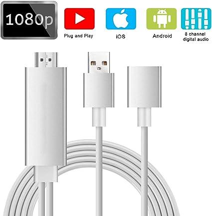 Cable USB MHL, adaptador de vídeo digital AV Weton en proyector de TV Plug and Play MHL HDMI adaptador de visualización espejo para smartphones: Amazon.es: Electrónica