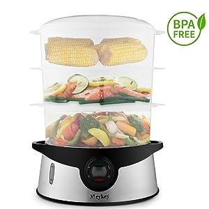 BPA Free 3-Tier Electric Food Steamer Stainless Steel Baby Food Steamer 800W