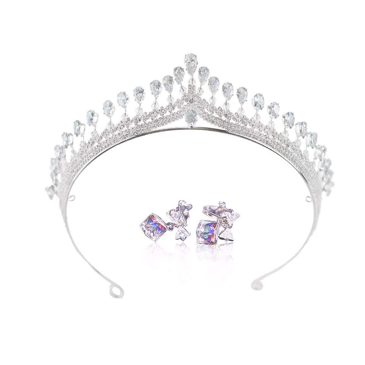 Wedding Crown, Beautiful headdress/Bridal Charm Zircon Crown High-End Wedding Party Modeling Wedding Wedding Accessories. (Color : B)