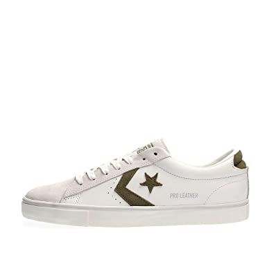 pretty nice bad52 94a91 Converse Homme Blanc Vert Blanc 160927C Chaussures Lacets en Cuir 42