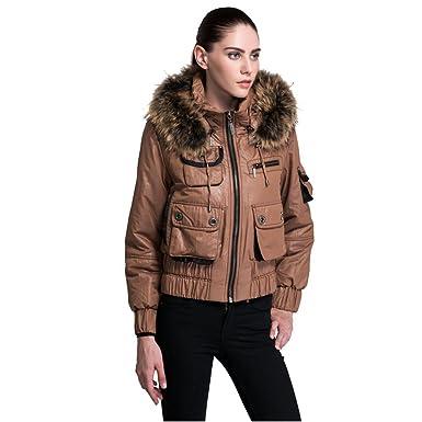 Women's Winter Bomber Jacket Fur Hood Zip Down Coat at Amazon ...