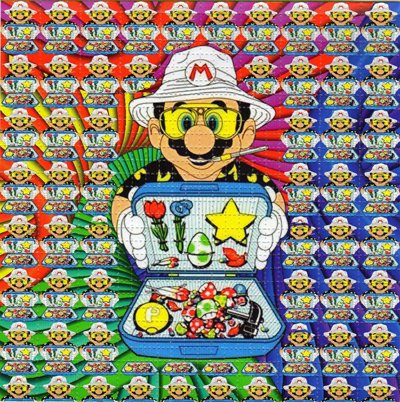 Psychedelic Blotter Art Print perforated sheet/paper 30x30 - Mario Design from Gdabs