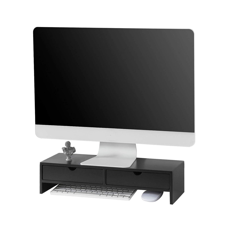 SoBuy Supporto Monitor pc da scrivania Organizer scrivania Altezza 11 cm, Nero, BBF02-SCH