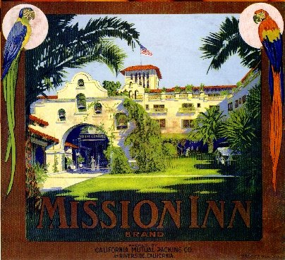 A SLICE IN TIME Riverside California Mission INN Brand Orange Citrus Fruit Crate Label Art Print Travel Advertisement Poster ()
