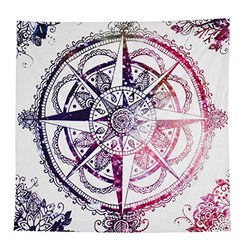 HOT, YANG-YI SquareHippie Tribal Compass Tapestry Wall hanging Dorms Decor Tapestries Beach Blanket (Colorful, 57 inches approx)