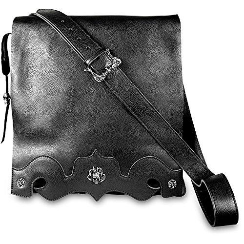 Zeyner Black Italian Vachetta Leather Messenger Bag by Zeyner