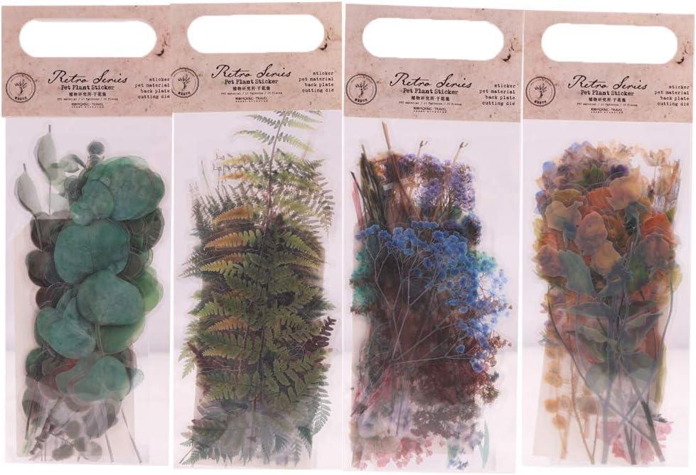 Pegatinas de Scrapbooking, Lychii stickers adhesivas decorativas con patrón de plantas naturales, pegatinas de material PET para computadoras portátiles, diarios, calendarios de álbumes