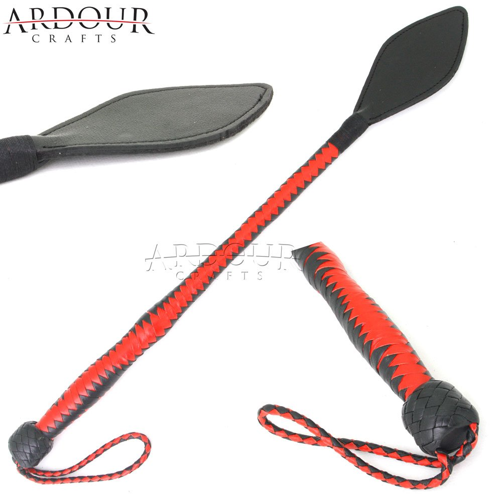 Ardour Crafts Real Leather Riding Crop 24 Fiberglass Horse Whip with Wide Slapper Red & Black Ardour Equestrian