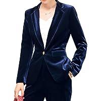 HeLov Women 1 Button Velvet Blazer Coat Slim Fit Casual Lapel Office Jacket Suit - Green