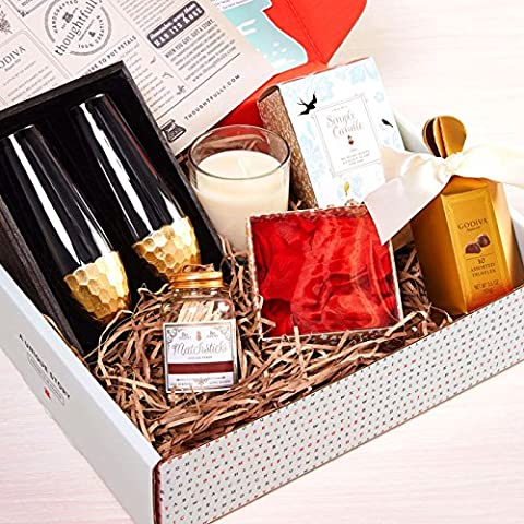 Chocolate and Champagne Gift Set with Godiva Chocolate Truffles, Two Gold Champagne Flutes, Glass Jar Candle, Rose - Godiva Basket