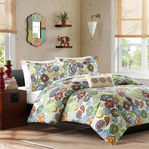 Mi Zone - Tamil Duvet Set - Green, Blue & Red - Full/Queen - Paisley Pattern - Includes 1 Duvet Cover, 2 Shams , 1 Decorative Pillow