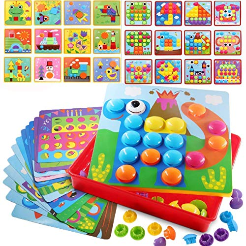 SuperLi Early Learning Educational Toys Button Art for Toddler,Thanksgiving Christmas Birthday Party Gift (67 PCS Buttons and 24 templates ()