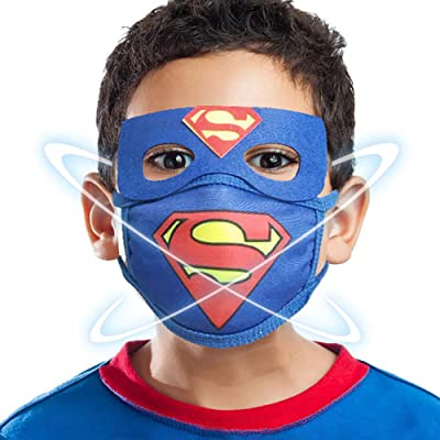 Cartoon Child Masks, Kids Face Mask with 10 Filter Replacements, Boy's Mask Cosplay Superhero Blue: Clothing