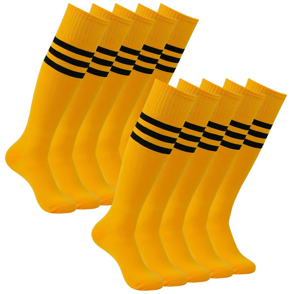 Football Socks Youth, Atrest Unisex Over-The-Calf Training Performance Team Sports Uniform Socks for Soccer Volleyball Camp Back To School Gifts Bright Orange+Black Stripe 10 Pairs by Atrest