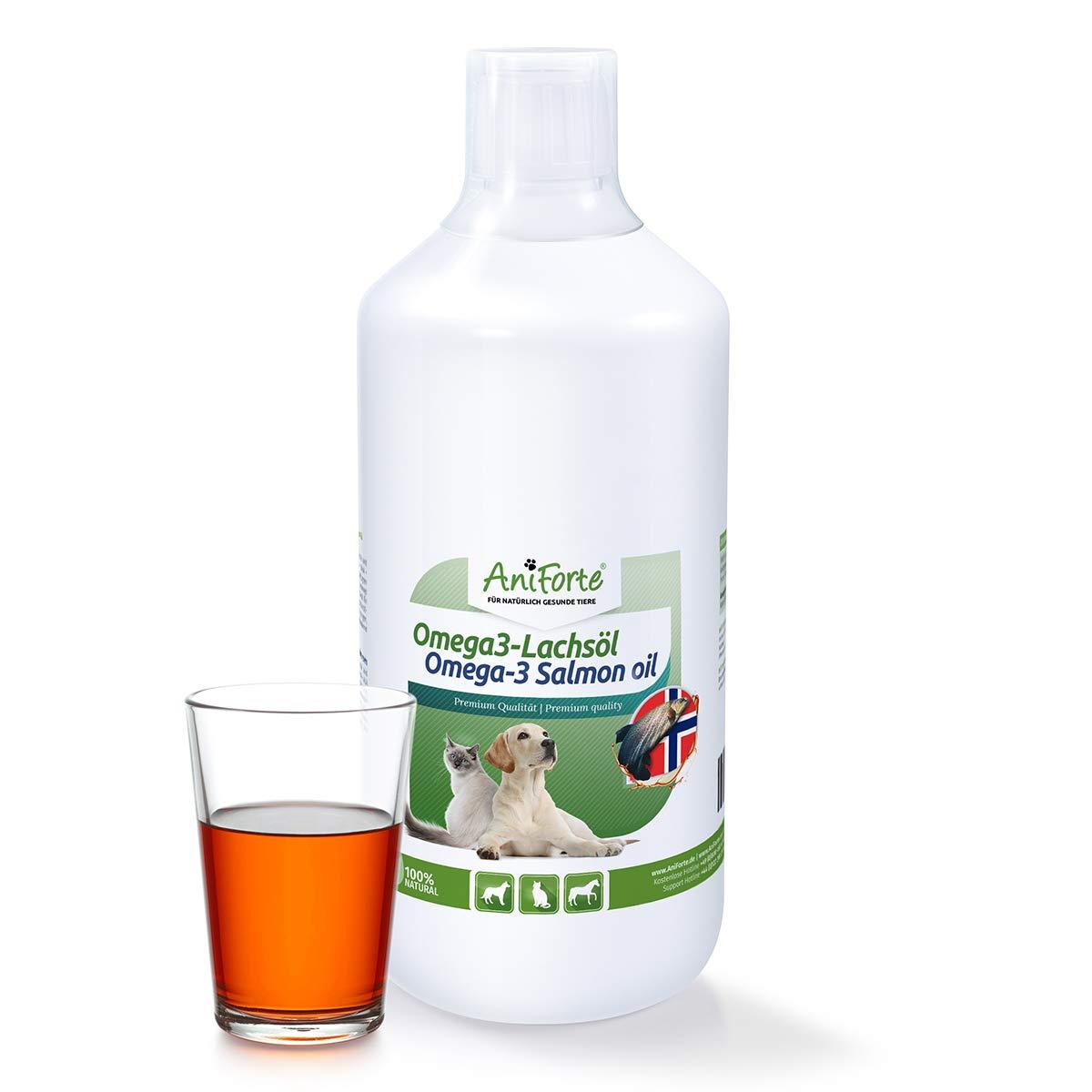 AniForte Huile de Saumon Sauvage de Norvège 1L, pour Chiens, Chats, Chevaux, Beauté du Pelage, EPA DHA ALA, Barf Supplément Görges Naturprodukte GmbH
