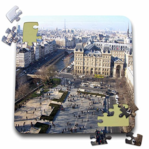 2 Travel - France - City of Paris and the Seine River with Eiffel Tower in Background - 10x10 Inch Puzzle (River City Tower)