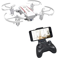 Bitzong White Mini Pocket Portable Foldable Quadcopter Drone with 720P HD Camera Live Video for Kids and Beginners, 2.4GHz 6 Axis Gyroscope One Key Takeoff, Landing, Return, Altitude Hold, 360 Degree Flip and Headless Mode, Detachable Propeller Guard