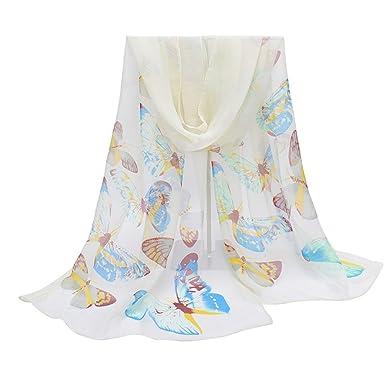 Rameng- Foulard en Mousseline, écharpe Femme Soie Longue Etole Papillons  Imprimé (blanc) 3a0f8a3f1f3