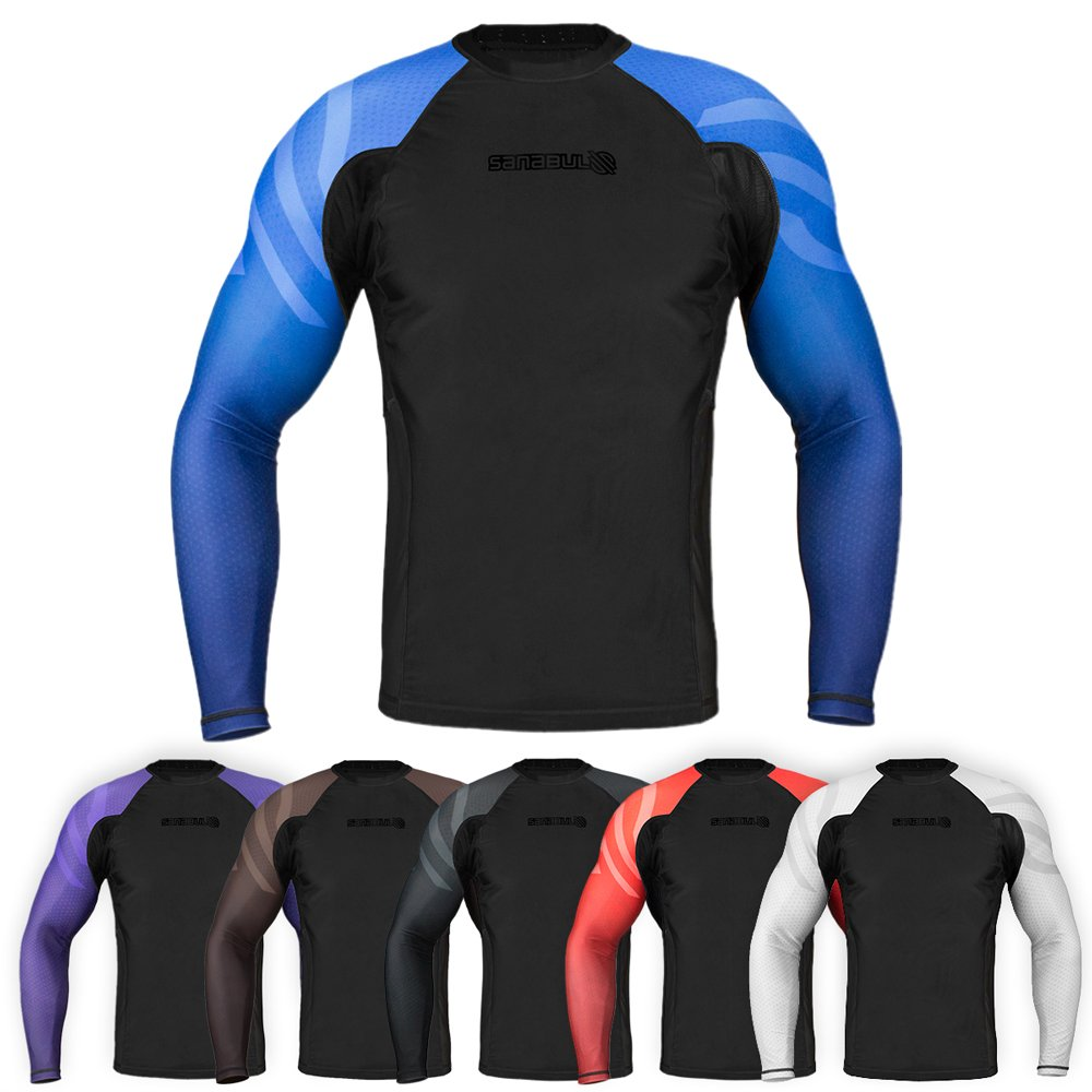 Sanabul Essentials Long Sleeve Compression Base Layer Rash Guard (Large, Blue) by Sanabul