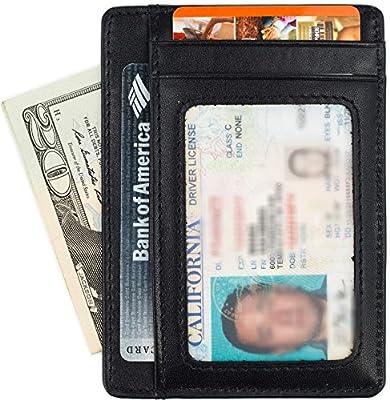 Minimalist Wallet for Men Slim Leather Wallet RFID Blocking - 5 Colors