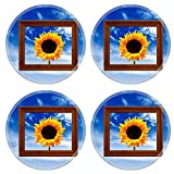 MSD Round Coasters Non-Slip Natural Rubber Desk Coasters design: 1717889 Sunflower in Picture Frame