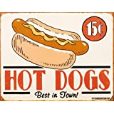 Schonberg Tin Metal Sign : Hot Dogs Best in Town by B. J. Schonberg, 16x13