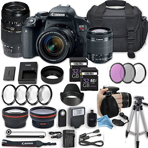 Canon EOS Rebel T7i 24.2 MP DSLR Camera with Canon EF-S 18-55mm f/4-5.6 IS STM Lens + 70-300mm f/4-5.6 Di LD Lens + 2 Memory Cards + 2 Aux Lenses + DigitalAndMore Free Accessories Bundle (24 Items) by DigitalandMore