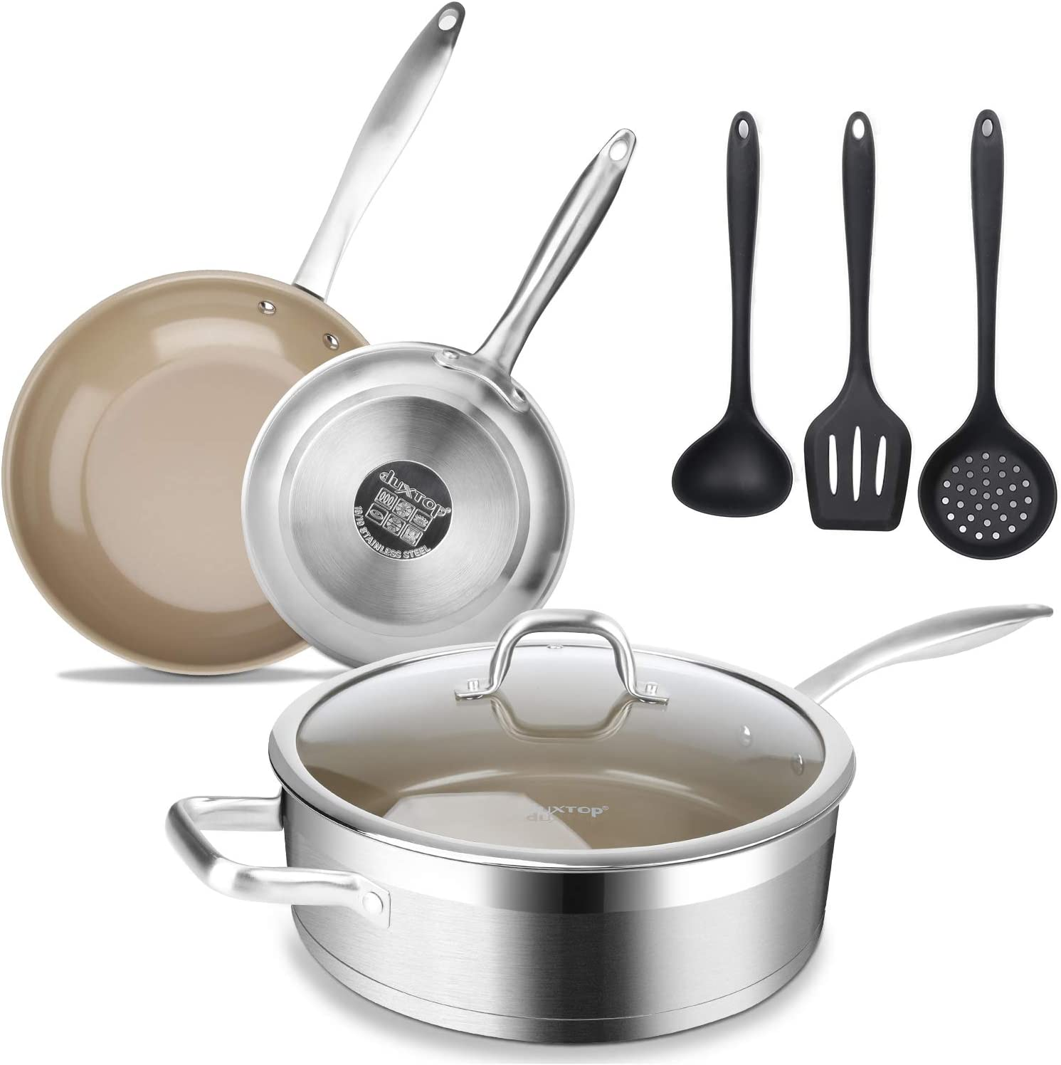 duxtop SSCC-7PC Coated Nonstick Pans Set, One Size, Stainless Steel