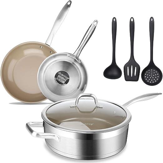 High Quality 3 Piece Induction Pan Set Saucepan Set Cookware Pot Stainless Steel